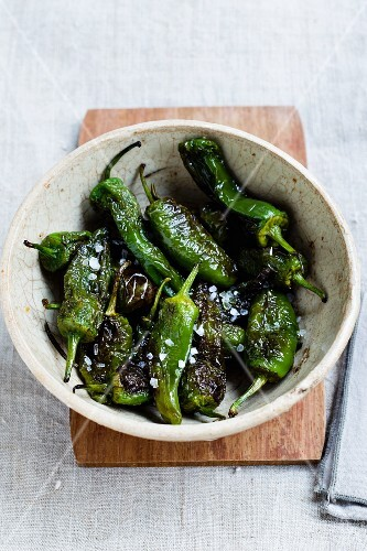Roasted mini green peppers