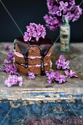 Mini chocolate and almond cakes with blackberry butter, chocolate glaze and lilac flowers