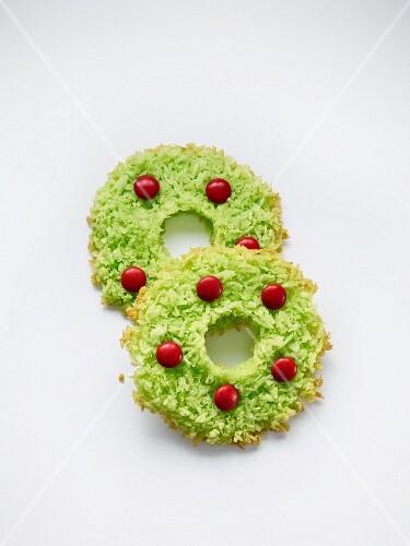 Grüne Weihnachtskranzplätzchen