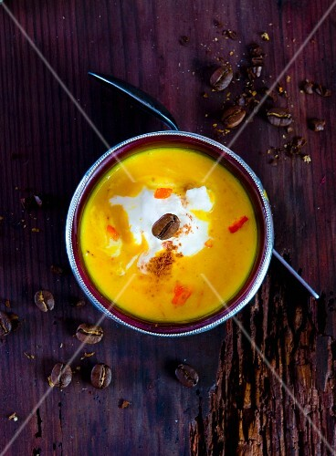 Pumpkin and coffee soup (seen from above)