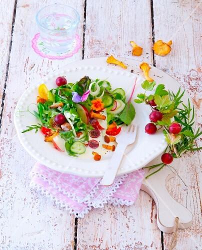 Chanterelle mushroom and gooseberry salad