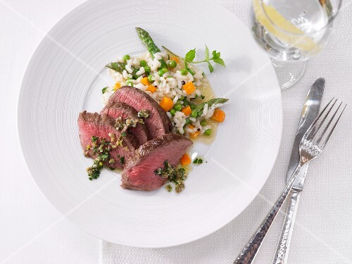 Saddle of venison with vegetable risotto
