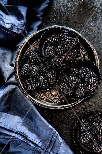 Blackberries in metal dishes