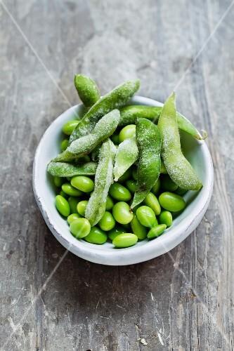 A bowl of edamame beans