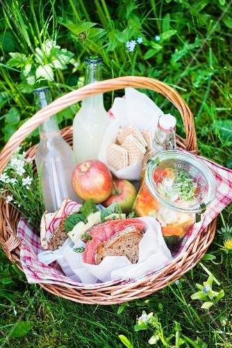 A picnic basket with salami sandwiches, salad, lemonade, apples and biscuits