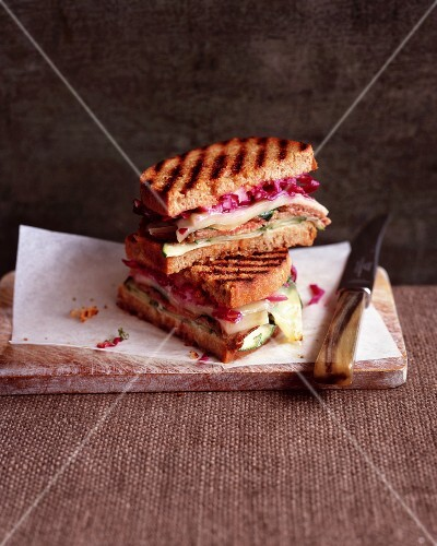 Toasted sandwiches with steak and pickled cabbage