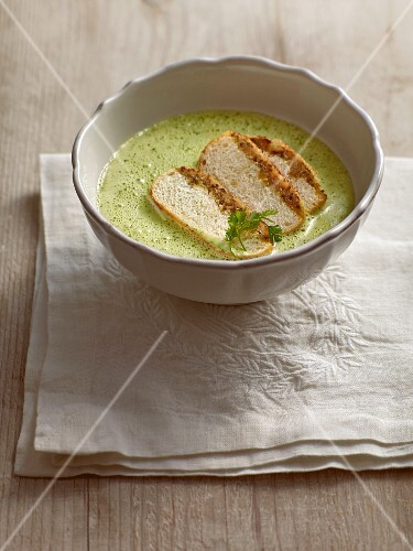 Creamy chervil soup with mushroom pavese toast