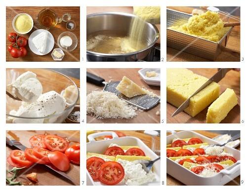 Polenta-Käse-Auflauf mit Tomaten zubereiten