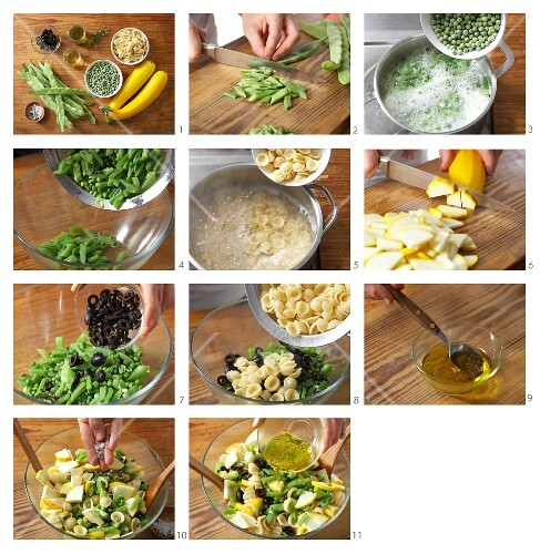 How to prepare orecchiette salad with green beans, yellow courgette and olives