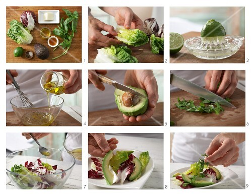 How to prepare mixed leaf salad with avocado