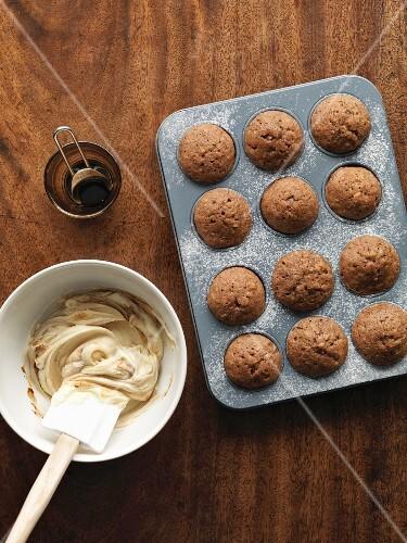 Mini coffee, walnut & banana cakes in a muffin tin