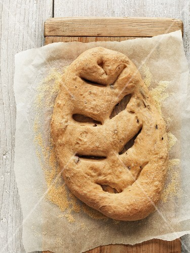 Fougasse with olives (seen from above)