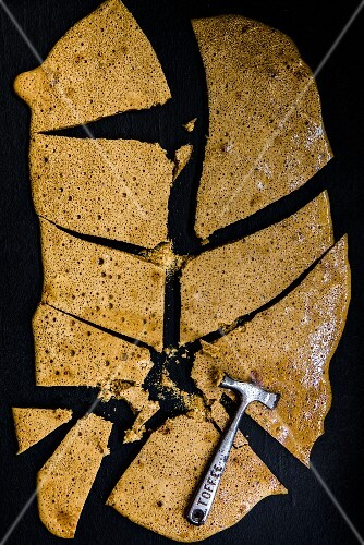 A slab of honeycomb broken with a toffee hammer (seen from above)