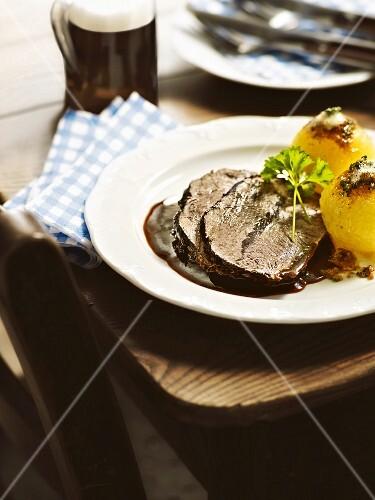 Boeuf a la mode with potato dumplings