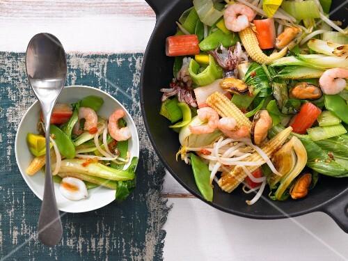 Seafood & vegetable stir-fry