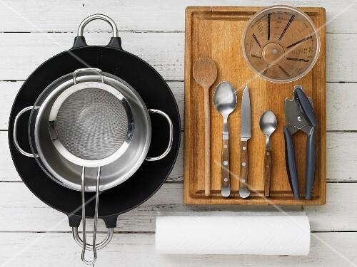 Utensils for seafood stir-fry