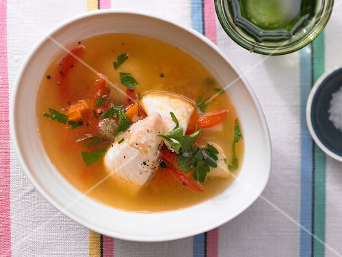 Quick fish soup with red pepper