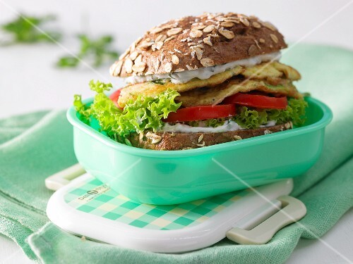 A filling omelette burger with courgette