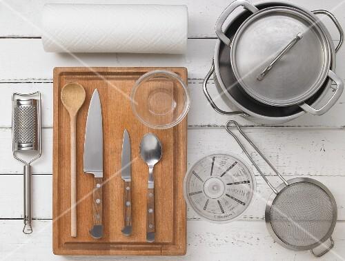 Kitchen utensils for preparing chicken fricassee