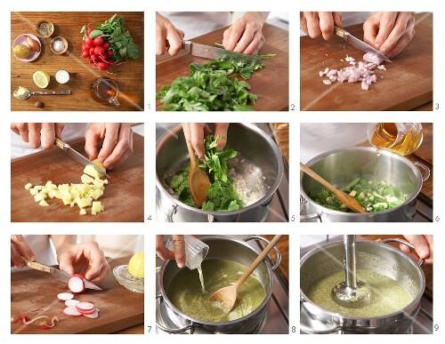 Radish and potato soup being made