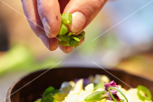 Sprinkling spring onions onto an egg salad