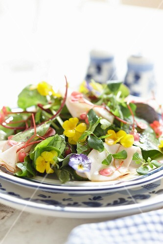 Chicken salad with edible flowers