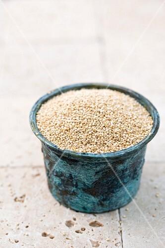 Quinoa in a blue ceramic jar