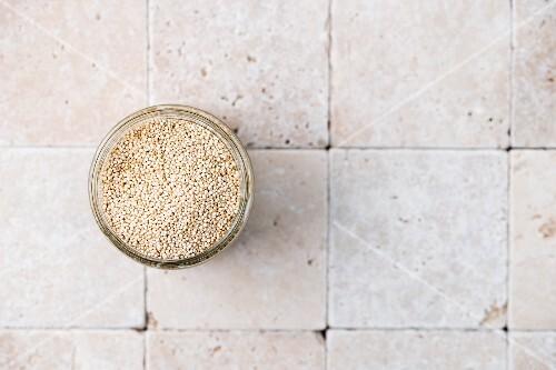 Quinoa in a glass bowl
