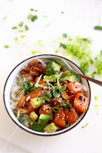 Ahi poke (raw tuna salad with avocado from Hawaii)