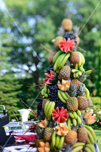 A pyramid of exotic fruit on a Caribbean buffet