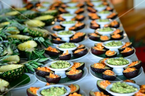 Avocado, prawns and pineapple on a Caribbean buffet