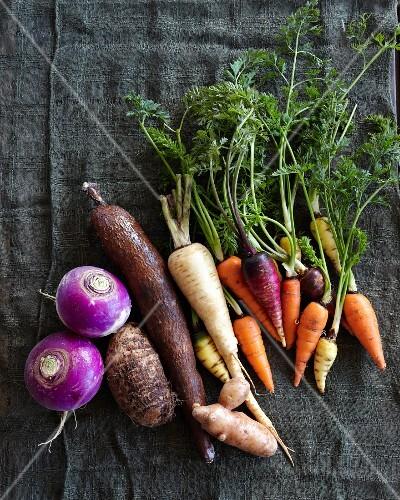 Various root vegetables