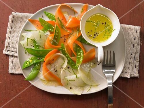 Vegetable carpaccio with vinaigrette