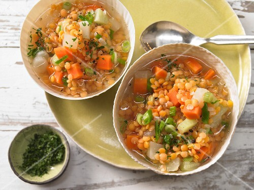 Yellow lentil stew with vegetables