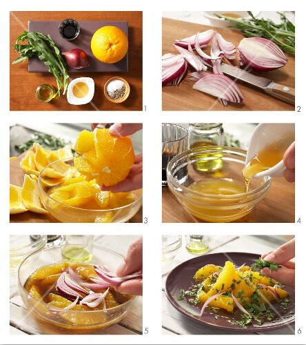 How to prepare orange salad with rocket and red onion