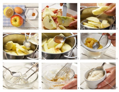 Sweet apple souffles with cinnamon being made