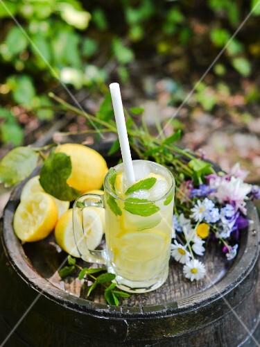 Lemonade with honey, mint and lemon slices