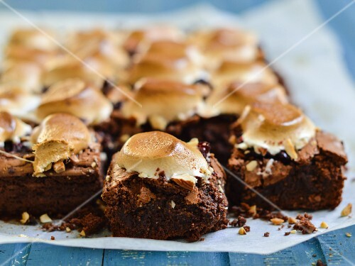Rocky road brownies on baking paper