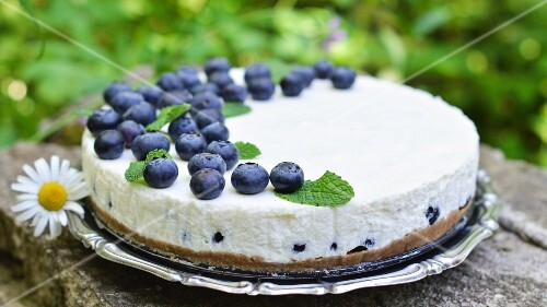 Unbaked yoghurt cake with blueberries