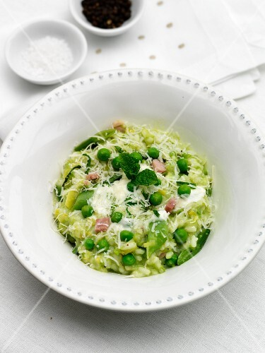 Pea risotto with Pancetta