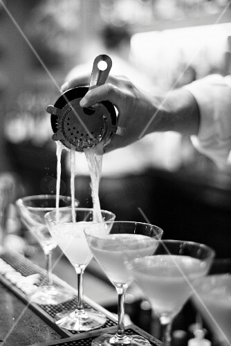 Martinis being served in a bar