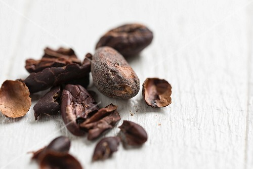 A close-up of cocoa beans
