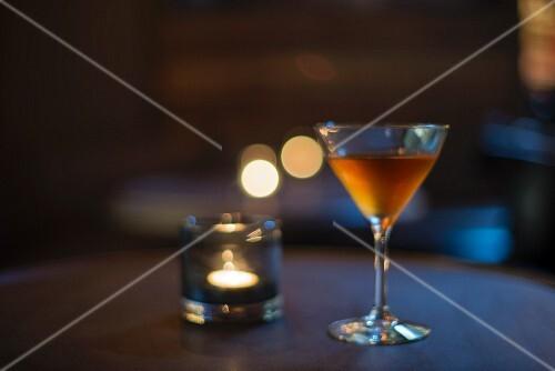 A martini in a bar