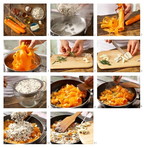 How to prepare fried carrot rice with hazelnuts and gorgonzola