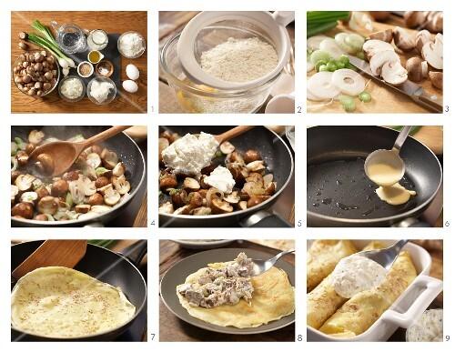 How to prepare sesame seed pancakes with mushrooms