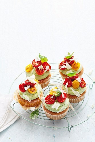 Savoury cupcakes with basil & marscarpone cream and caramelised tomatoes
