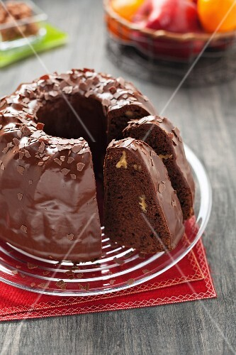 A chocolate wreath cake with walnuts