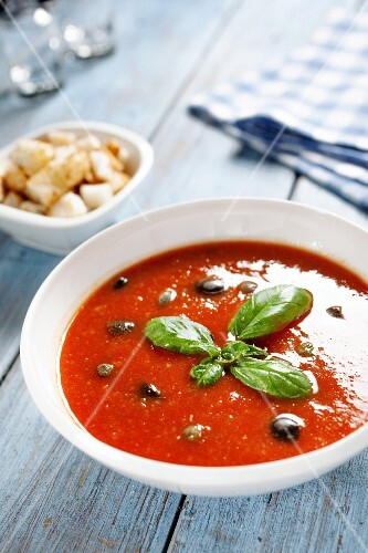 Panzanella soup with tomato, basil and croutons