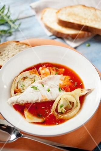 Tomato stew with porgy