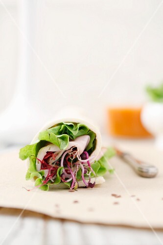 A bread wrap with lettuce, bean sprouts and turkey breast
